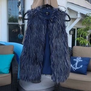 Black and blue mossimo shaggy fur vest